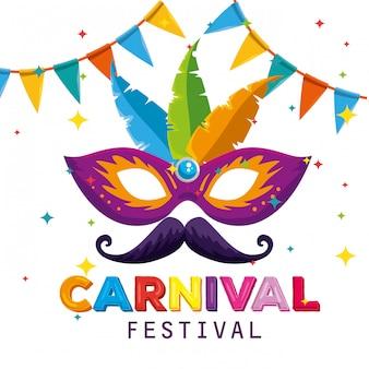 Máscara de festival com decoração de penas e banner de festa