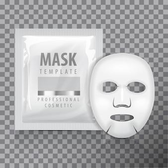 Máscara de folha facial com saquinho. modelo em branco. pacote de produtos de beleza