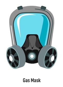 Máscara de gás com proteção de vidro especial para óculos e filtro. parte isolada do traje para situações de risco biológico e poluição perigosa. segurança de armas biológicas. medidas de proteção, vetor em estilo simples