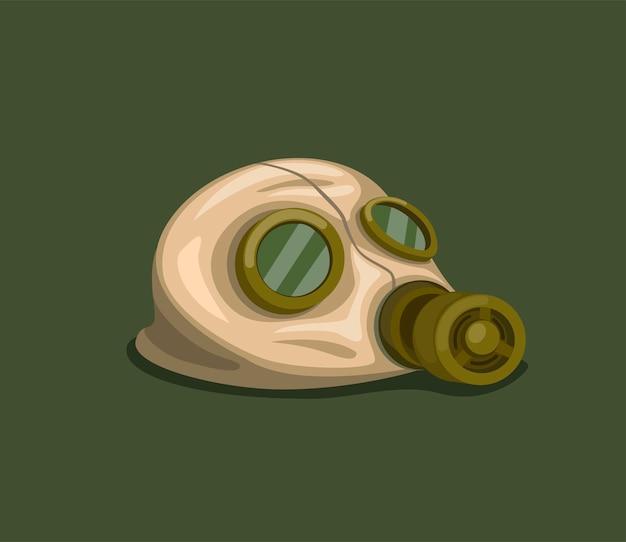 Máscara de gás de risco de borracha vintage no chão, proteção respiratória de máscara facial do exército para radiação de radiação nuclear ou química do ar na ilustração dos desenhos animados