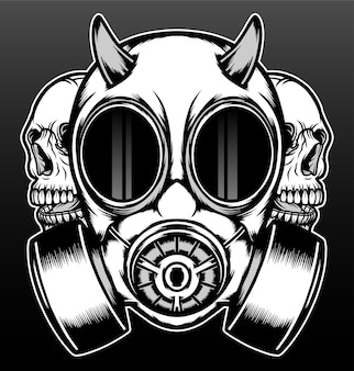 Máscara de gás frontal com crânio isolado em preto