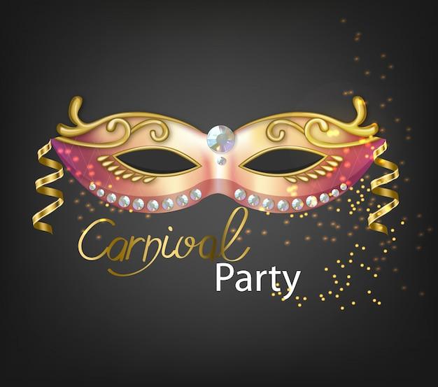 Máscara de glitter dourado de carnaval