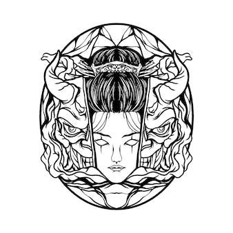 Máscara de gueixa e demônio