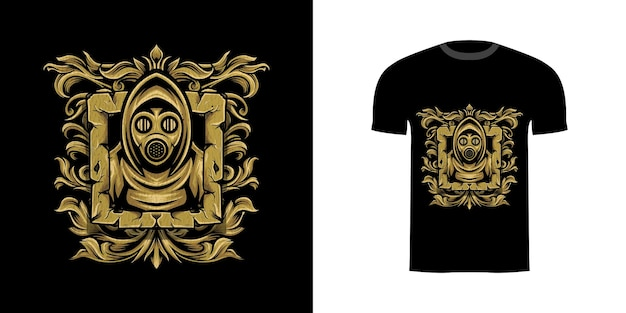 Máscara de guerreiro de design de camiseta com enfeite de gravura