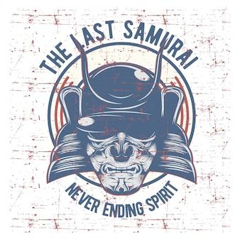 Máscara de guerreiro samurai. armadura tradicional do guerreiro japonês.