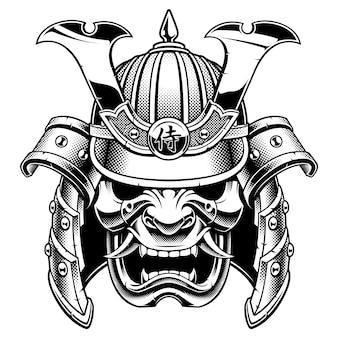 Máscara de guerreiro samurai preto e branco