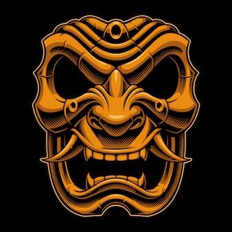 Máscara de guerreiro samurai
