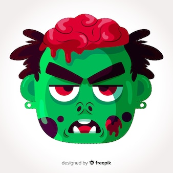 Máscara de halloween zombie em design plano