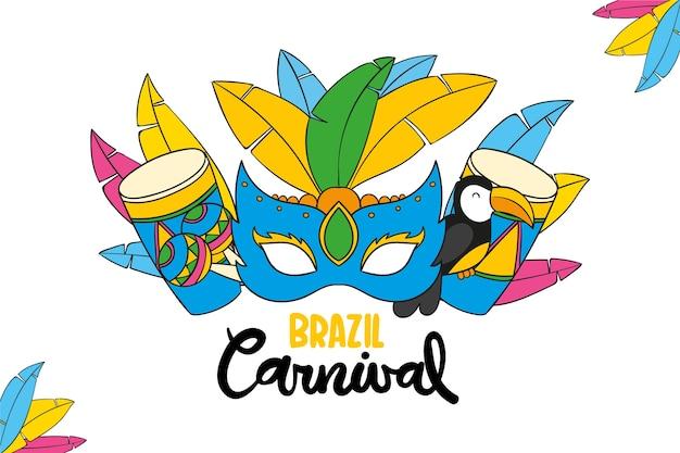 Máscara de mão desenhada para o carnaval brasileiro