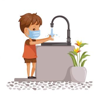 Máscara de menino lavando as mãos.