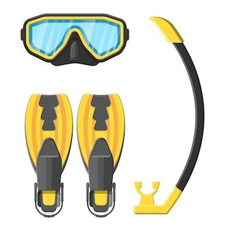 Máscara de mergulho, nadadeiras e snorkel.