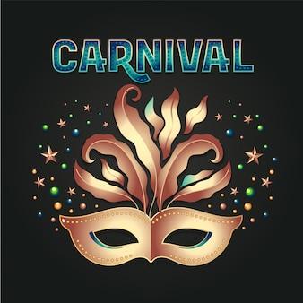Máscara de ouro com festa de carnaval de penas