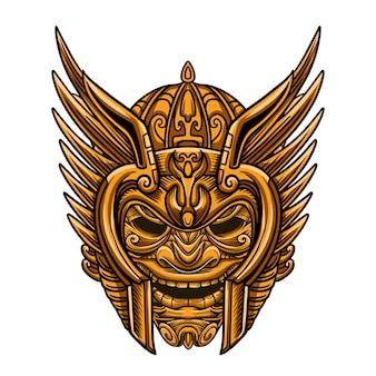 Máscara de ouro guerreiro dourado