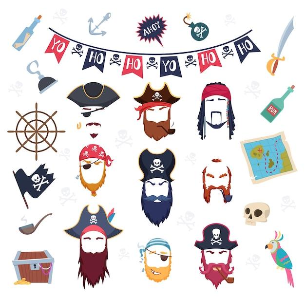 Máscara de pirata. trajes de elementos de máscaras para decoração de festa de aniversário cabelo bigode barba gancho construtor