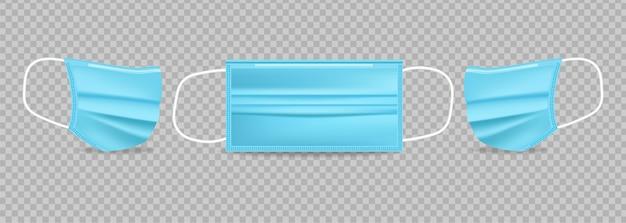 Máscara de proteção azul realista. anuncie ilustrações 3d de banner isoladas