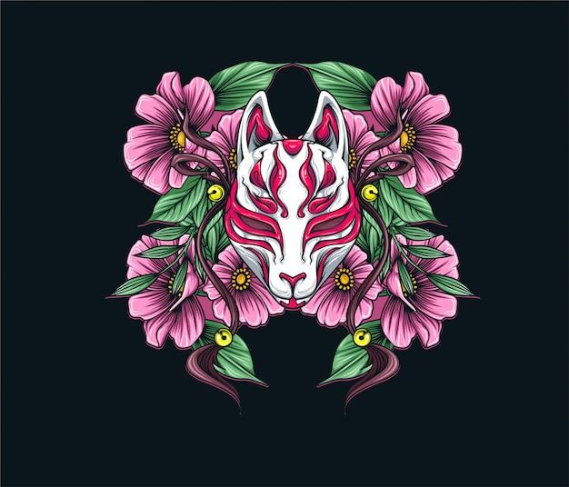 Máscara de raposa japonesa com flores
