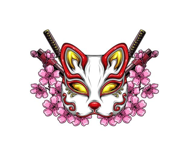 Máscara de raposa japonesa e flores de cerejeira