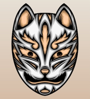 Máscara de raposa japonesa. Vetor Premium