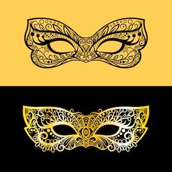 Máscara de renda dourada e preta