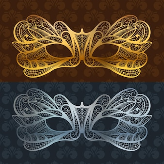 Máscara de renda. máscara de carnaval veneziano de baile de máscaras em ouro e azul.