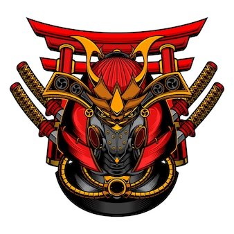 Máscara de robô samurai
