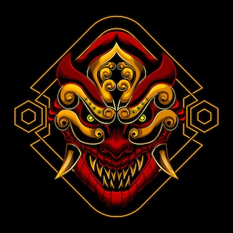 Máscara de samurai aangry ronin
