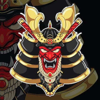 Máscara de samurai japonês., conceito de design de tatuagem.