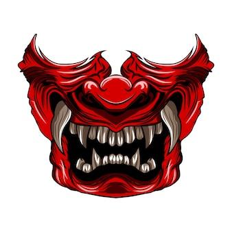 Máscara de samurai vermelho