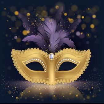 Máscara de seda dourada com penas roxas
