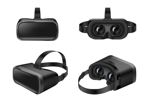 Máscara de simulador de fone de ouvido vr conjunto isolado realista em fundo branco. óculos de realidade virtual para simulador e jogos. ilustração vetorial 3d