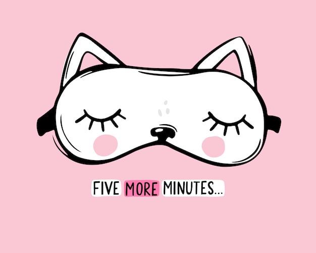 Máscara de sono de vetor em forma de gato branco e citação de mais cinco minutos