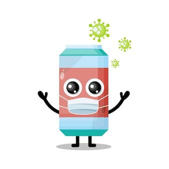 Máscara de vírus de refrigerante mascote personagem fofa