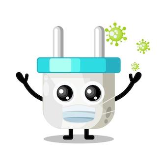 Máscara de vírus de tomada elétrica mascote de personagem fofa
