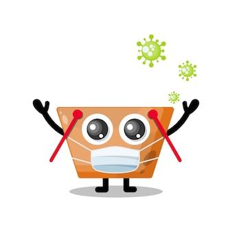 Máscara de vírus mascote de personagem fofa de carrinho de compras