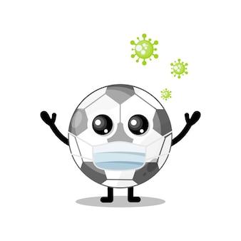Máscara de vírus mascote de personagem fofa de futebol