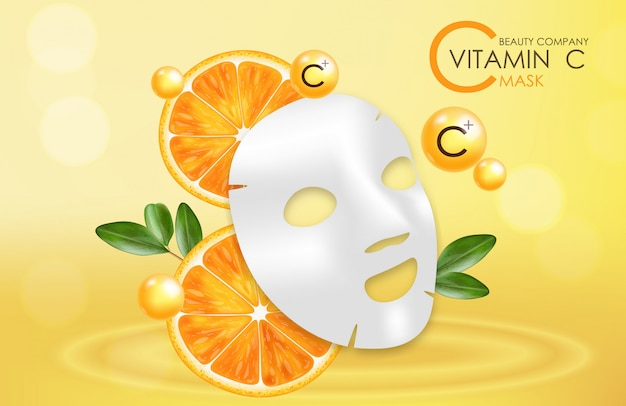 Máscara de vitamina c, empresa de beleza, cuidados com a pele