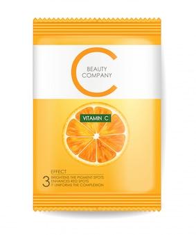 Máscara de vitamina c, pacote realista