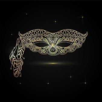 Máscara desenhada à mão em design ornamental