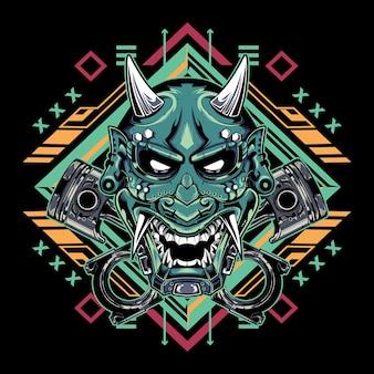Máscara do diabo japonês hannya com emblema de pistão