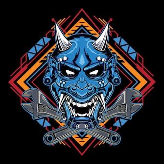 Máscara do diabo japonês hannya com o emblema da chave inglesa