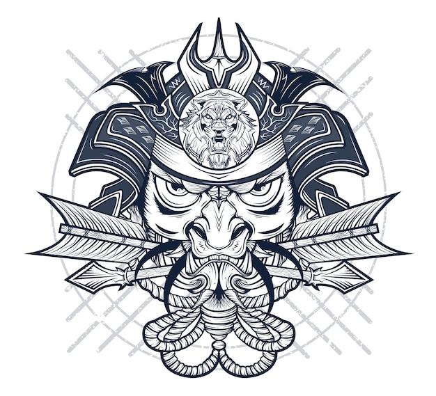 Máscara do terrível guerreiro japonês