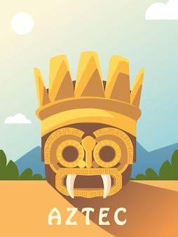 Máscara dourada asteca ornamento étnico na ilustração da paisagem