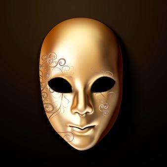 Máscara dourada com diamante em estilo 3d