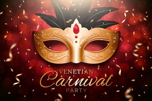 Máscara dourada de carnaval com modelo de banner de fitas