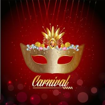 Máscara dourada de carnaval e fundo