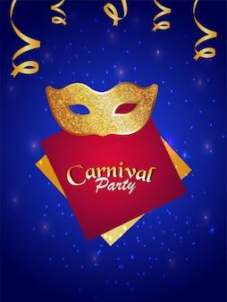 Máscara dourada de carnaval, pôster de convite para evento de carnaval brasileiro