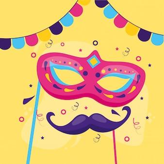 Máscara e bigode de carnaval
