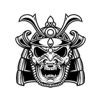 Máscara e capacete de samurai japonês.