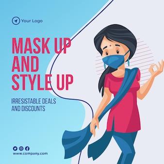Máscara e estilo de design de banner de venda de verão