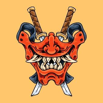 Máscara e faca de meia oni japonesa